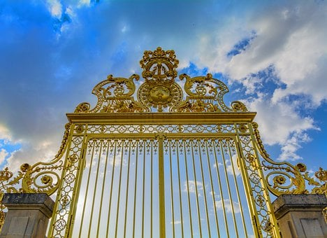 Versailles, Gate, Crown, Golden, France, Architecture