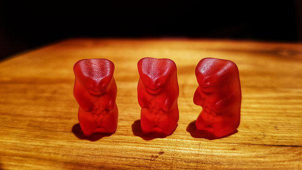 Gummi Bears, Red Bear, Gummibärchen, Delicious, Red