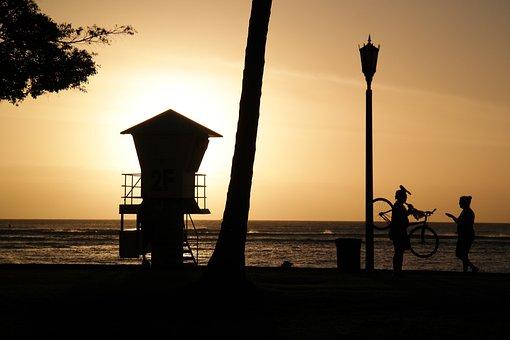 Waikiki, Hawaii, Honolulu, Beach, Silhouette, Yellow