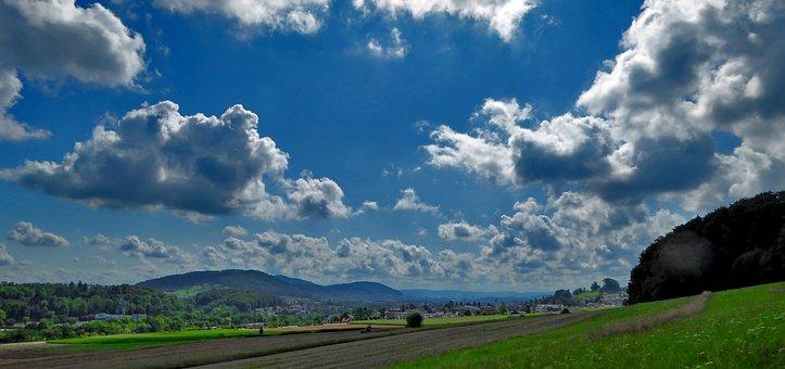 Landscape, Nature, Meadow, Clouds, Sky, Light, Sun