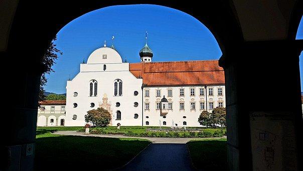 Monastery, Benediktbeuern, Church, Archway, Building