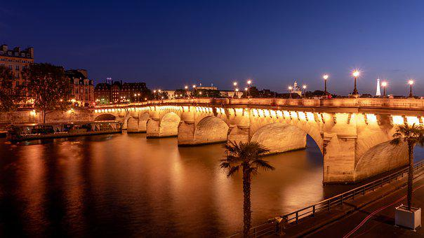 Paris, Bridge, New Bridge, Lights, Seine, River