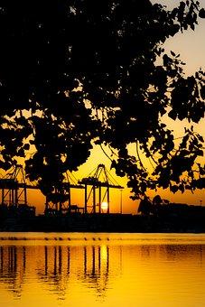 Amanecer, Sunset, Port, Puerto, Sea, Landscape, Paisaje