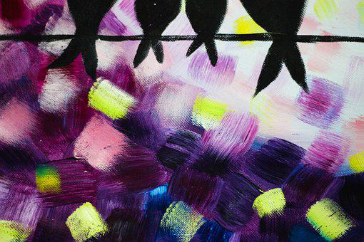 Purple, Yellow Black, The Birds Tail, Background