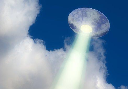 Ufo, Saucer, Flying, Light, Sky, Background, Beam