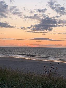 Sea, Coast, Evening, Sunset, Holland, Domburg, Beach