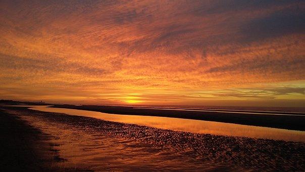 Benefits, Orange, Sunset, Coast, Sea