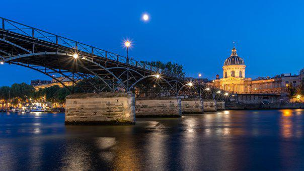 Paris, River, Pont Des Arts, Lights, Bridge, Seine