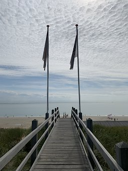 Stairs, Sea, Summer, Holland, Zoutelande, Clouds, Sky