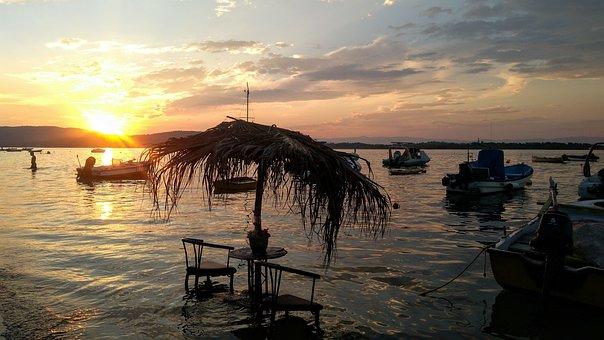 Greece, Sea, Beach, Summer, Twilight, Sky