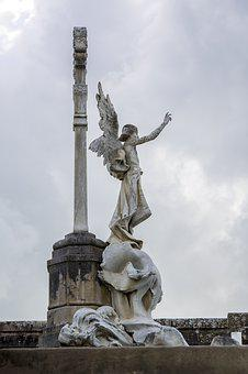 Cemetery, Angel, Monument, Tomb, Clouds, Sculpture