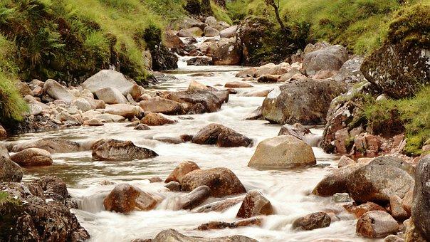 Water, Flowing, Natural, Waterfall, Flow, Brook, Stone