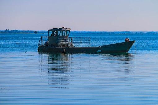 Boat, Against The Light, Lake, Blue, Fisherman, Fishing