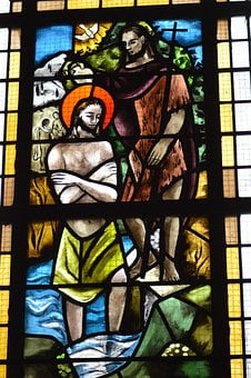 Stained Glass, Window, Church, Faith, Baptism, Jesus