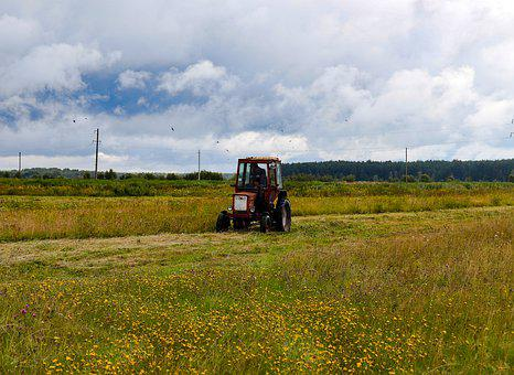 Field, Meadow, Tractor, Sky, Partly Cloudy, Rain