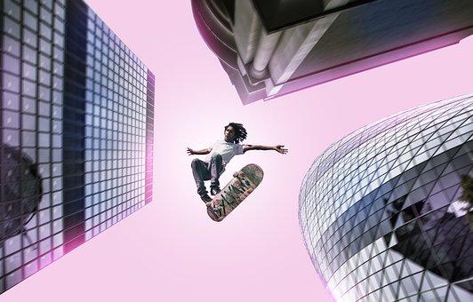 Guy, Skateboard, High Building, Pink, Neon, Flies