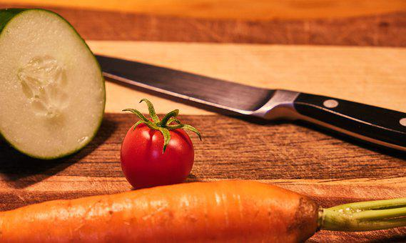 Vegetables, Tomato, Cucumber, Carrot, Knife, Cut, Food