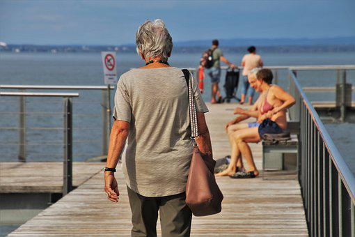 Bodensee, Lake, Older Person, The Pier, Relaxation
