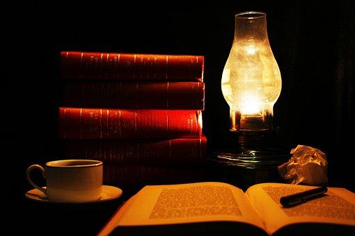 Reading, Read, Books, Coffee, Study, Vintage, Lamp