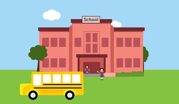 School, Students, Bus, School Bus, Building