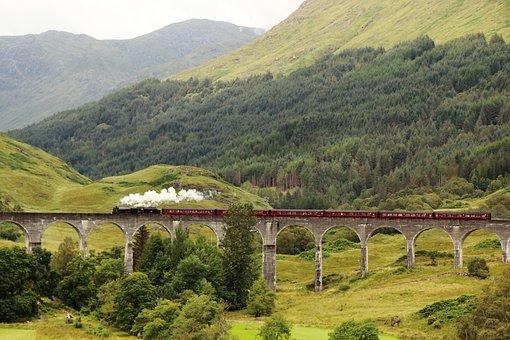 Scotland, Steam Train, Viaduct, Glenfinnan, Landscape