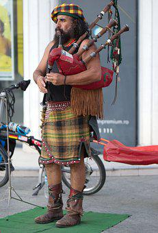 Man, Adult, Bearded, Singing, Pipes, Street, Skirt