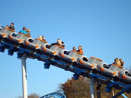 Movie Park, Roller Coaster, Summer, High, Fast, Sky