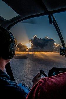 Hawaii, Sunrise, Helicopter, Landscape, Sun, Nature