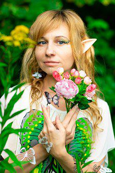 Elf, Flowers, Forest, Butterfly, Fantasy, Tales, Story