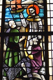 Stained Glass, Window, Church, Saints, Jesus, Pierre
