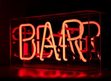 Bar, Neon, Neon Sign, Light, Night, Red, Celebrate