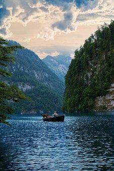 Königssee, Bavaria, Water, Landscape, Lake, Boat