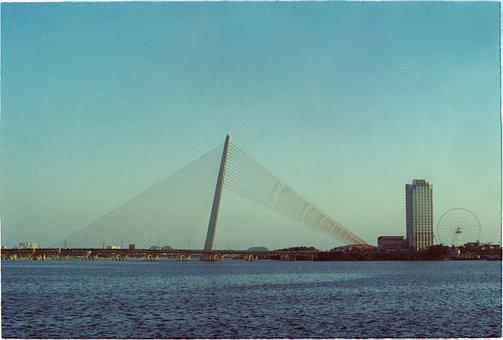 Bridge, River, Landscape, Panorama, Sunset, Water