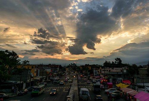 Sunset, City, Cdmx, Sky, Landscape, Backlight, Sun