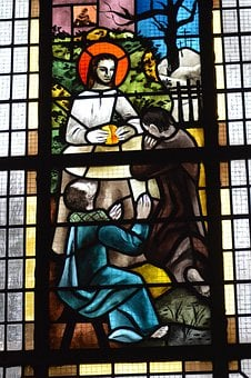 Stained Glass, Window, Church, Emmaus, Followers