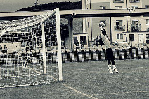 Black And White, Football, Goalkeeper, Ball, Course