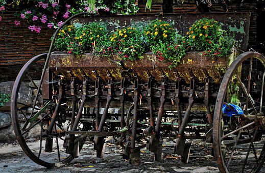 Agriculture, Device, Old, Antique, Decoration, Flowers
