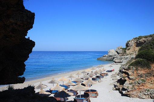 See, Beach, Albania, Dhermi, Summer, Landscape