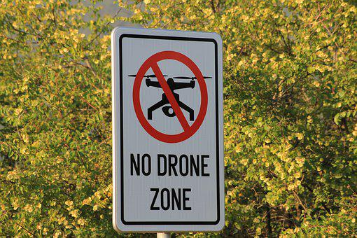 Drone, Quadracopter, Flying, Sign, Ban, Ban Flights