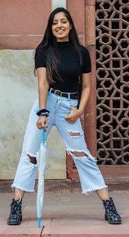 Model, Female, Fashion, India, Girl With Umbrella