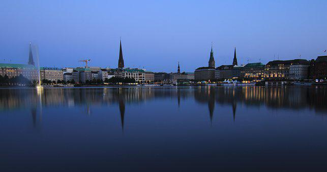 Water, Hamburg, City, Elbe, Germany, Architecture, Sky
