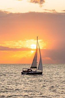 Hanse Sail, Sunset, Clouds, Sun, Ship, Sailing Vessel