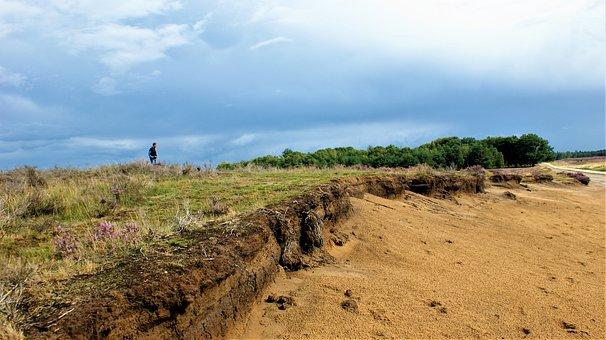 Person, Heideveld, Rain, Erosion, The Sand, Clouds