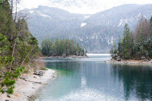 Eibsee, Mountains, Landscape, Forest, Island, Lake