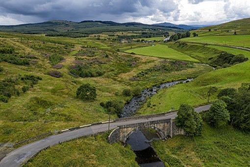 Denny, Scotland, Aerial View, Hill, Landscape, Bridge