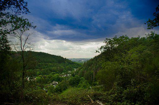 Landscape, Clouds, Green, Forest, Nature, Hill, Path