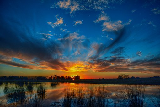 Sunset, Sun, Clouds, Water, Landscape, Nature, Horizon