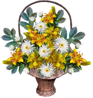 Flowers, Basket, Arrangement, Yellow, Leaves, Lilies