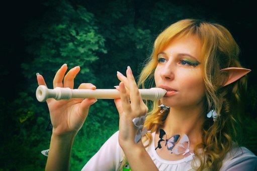 Flute, Dudka, Block Flute, Elf, Ears, Magic, Makeup