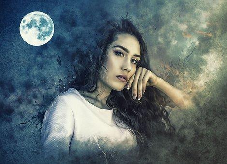 Portrait, Fantasy, Fantasy Portrait, Dream, Moon, Sky